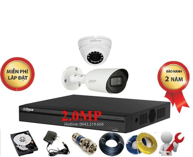 Bộ 2 Mắt Dahua 2.0M 1080P Vỏ Kim Loại - Cao Cấp