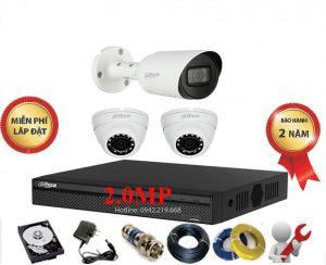 Bộ 3 Mắt Dahua 2.0M 1080P Vỏ Kim Loại - Cao Cấp