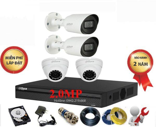 Bộ 4 Mắt Dahua 2.0M 1080P Vỏ Kim Loại - Cao Cấp