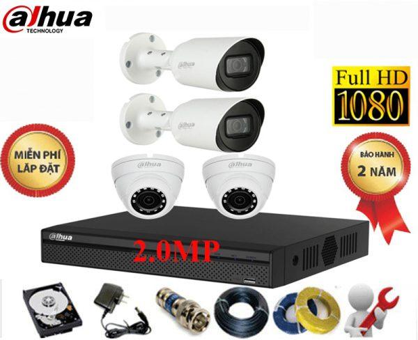 bộ 4 camera dahua 2.0 1080p