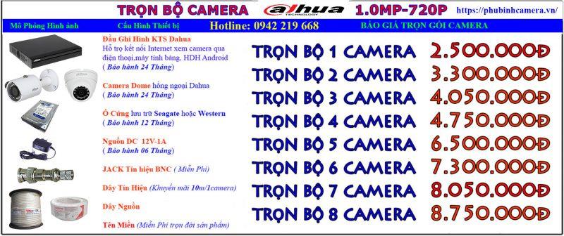 bảng báo giá lắp đặt camera dahua 1.0 vỏ kim loại