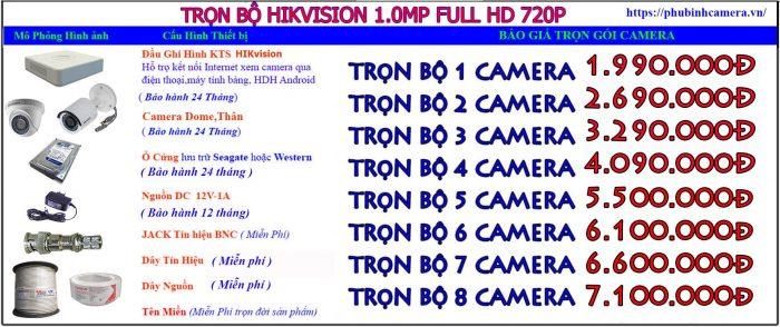 trọn bộ hikvision 1.0-720p lắp đặt camera tại thanh trì