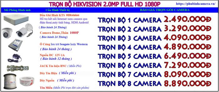 trọn bộ hikvision 2.0-1080P lắp đặt camera tại thanh trì